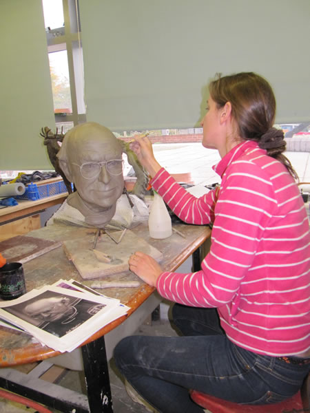 Amy Goodman with her clay of 'Professor Sid Watkin's'