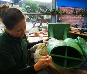 Katie working on the wax of 'Lester' by artist William Newton