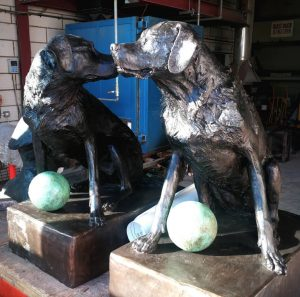 Finished pair of life sized Labradors waiting for their new home by artist Judy Boyt