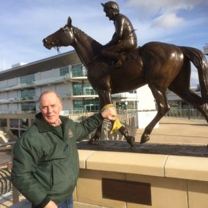Richard gives Jonathan Knight's 'Dawn Run' a final wax and polish ready for next week's Cheltenham Gold Cup meeting